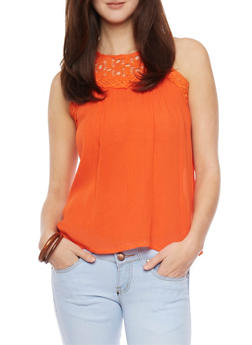 Sleeveless Crocheted Yoke Top - 1002058756205