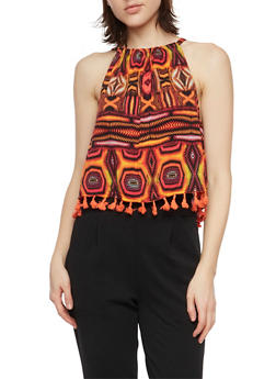 Crop Tank Top in Tribal Print with Fringe - 1002058756560
