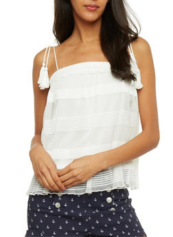 Sheer Lined Cami with Crochet Trim - IVORY - 1002058756674