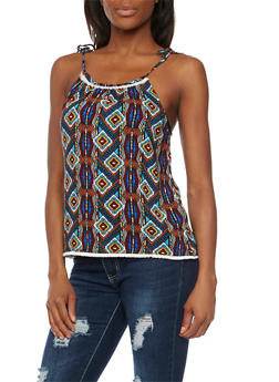 Tank Top in Tribal Print with Crochet Trim - 1002058756787