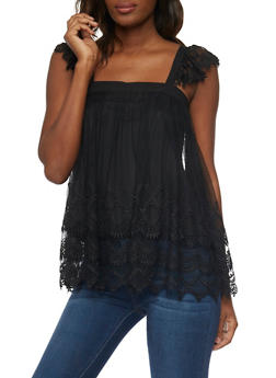 Tiered Crocheted Mesh Top with Flutter Sleeves - 1002058756818