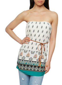 Printed Padded Strapless Top with Braided Belt - 1002058756835