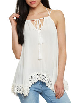 Sleeveless Double Strap Tank Top with Crochet Trim - IVORY - 1002058756886