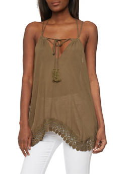 Sleeveless Double Strap Tank Top with Crochet Trim - OLIVE - 1002058756886