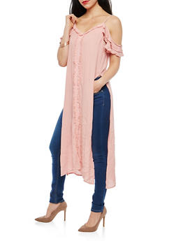 Gauze Knit Fringe Trim Maxi Top - 1002058757182