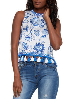 Floral Print Satin Top with High Low Tassel Hem - 1002058757183