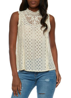 Sleeveless Top with Crochet Yoke - 1002058757185