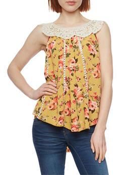 Floral Crochet Yoke Top - 1002058757199