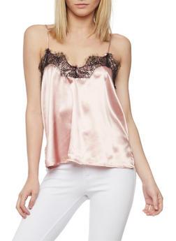 Satin Camisole with Lace Trim Neckline - BLUSH/BLK - 1002058757336