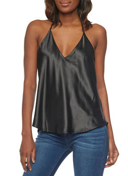 Satin V Neck Tank Top with Open Back - 1002058757414