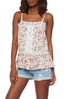 Floral Cami Top with Flounce Hem and Lace Detail - 1002058757449