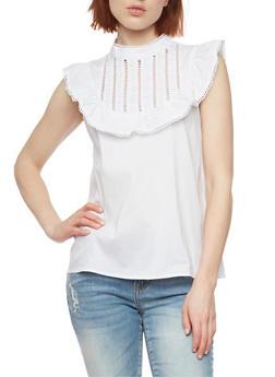 Mock Neck Lace Trim Top - WHITE - 1002058757669