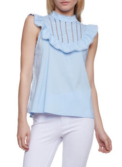 Mock Neck Lace Trim Top - 1002058757669