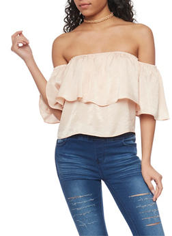 Short Sleeve Off The Shoulder Top with Ruffle Overlay - 1002058758045