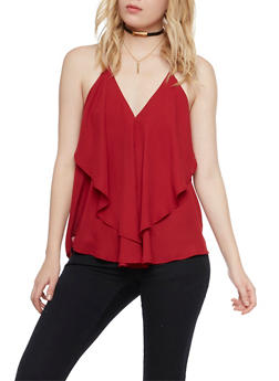 Layered Tank Top with Chain Straps - BURGUNDY - 1002067330111
