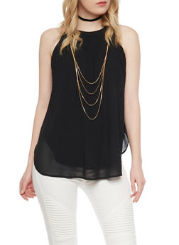 Sleeveless Halter Top With Attached Multi Layered Necklace - 1002067330112