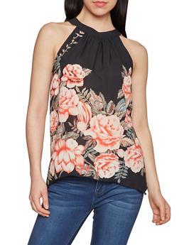 Sleeveless Floral Halter Neck Top - 1002067331408