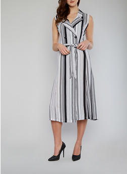 Sleeveless Striped Duster with Sash Belt - 1002067334201