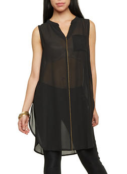Sleeveless Duster Top with Zip Trim - 1002067336201