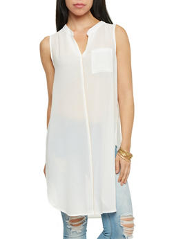 Sleeveless Duster Top with Zip Trim - IVORY/GOLD - 1002067336201