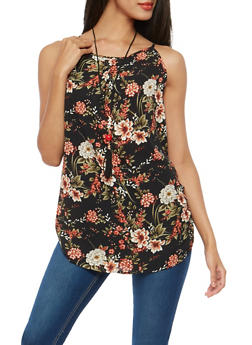 Ruched Side Floral Top with Necklace - 1002074290464