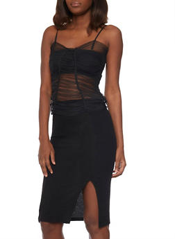 Mesh Bustier with Shirred Details - BLACK - 1003058751045