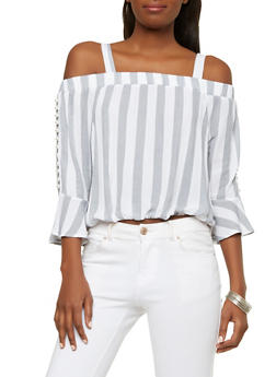 Faux Pearl Bell Sleeve Off the Shoulder Top - 1004015997900