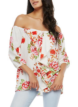 Off the Shoulder Ruffled Bow Top - 1004038348575