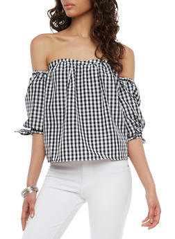 Gingham Off the Shoulder Bubble Sleeve Top - 1004038348586