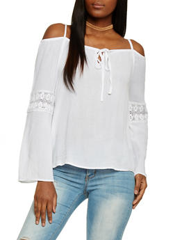 Long Sleeve Cold Shoulder Blouse with Crotchet Inserts - 1004038348629