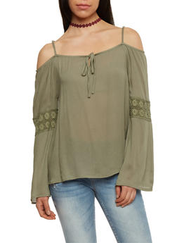 Long Sleeve Cold Shoulder Blouse with Crotchet Inserts - OLIVE - 1004038348629