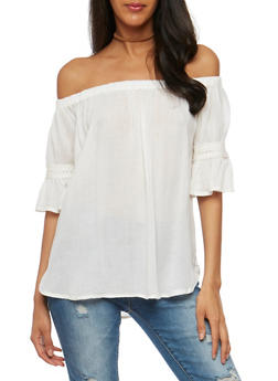 Gauzy Off the Shoulder Peasant Top - 1004038348636