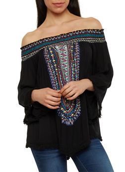 Off The Shoulder Dashiki Print Top with Crochet Fringe - 1004038348649