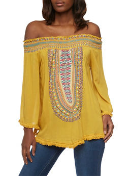 Off The Shoulder Dashiki Print Top with Crochet Fringe - MUSTARD - 1004038348649