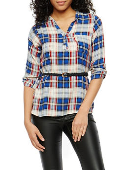 Plaid Henley Belted High Low Top - 1004038348651