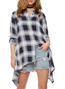 Plaid Button Front Shirt with Sharkbite Hem - 1004038348652