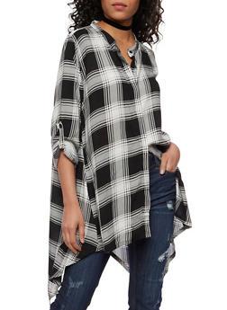 Plaid Button Front Shirt with Sharkbite Hem - BLACK/WHITE - 1004038348652