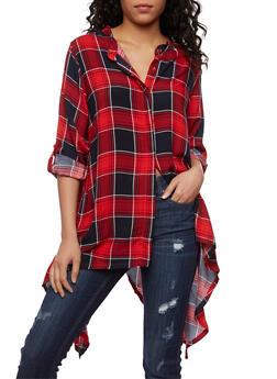 Plaid Button Front Shirt with Sharkbite Hem - NAVY/RED - 1004038348652