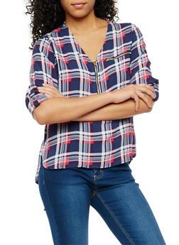 Plaid Half Zip Tab Sleeve Top - NAVY/WHT - 1004038348653