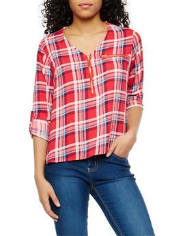 Plaid Half Zip Tab Sleeve Top - RED/NAVY - 1004038348653