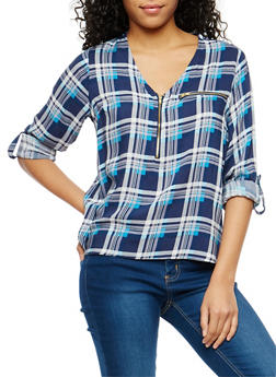 Plaid Half Zip Tab Sleeve Top - 1004038348653