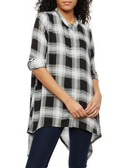 Plaid Asymmetrical Button Front Shirt - 1004038348654