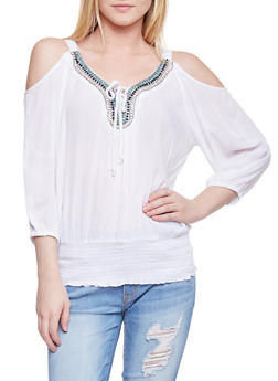 Crinkle Knit Cold Shoulder Peasant Top with Beaded Neckline - WHITE - 1004038348660