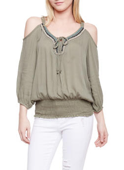 Crinkle Knit Cold Shoulder Peasant Top with Beaded Neckline - OLIVE - 1004038348660