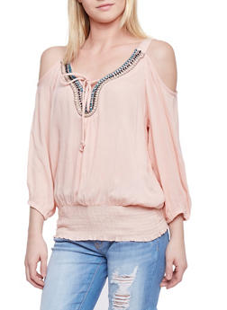 Crinkle Knit Cold Shoulder Peasant Top with Beaded Neckline - BLUSH - 1004038348660