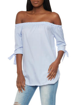 Striped Off the Shoulder Top with Tie Sleeves - 1004038348670