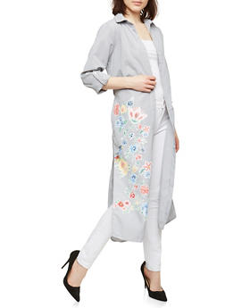 Floral Graphic Striped Duster - 1004038349333