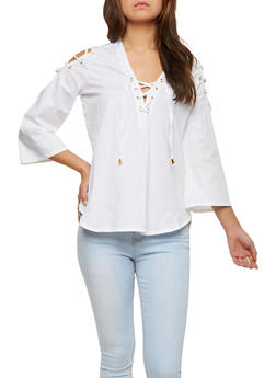 Lace Up Bell Sleeve Top - 1004038349610