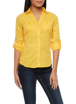 Button Up Top with Tab Sleeves - MUSTARD - 1004051061375