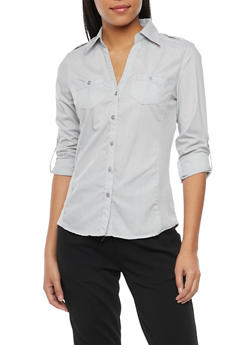 Poplin Button Front Shirt with Rib Knit Panels - 1004051061377